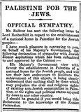 Balfour Declaration, The Times, 9 November 1917